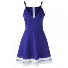 Sexy Spaghetti Strap Low Cut Spliced Women's Dress BLUE M
