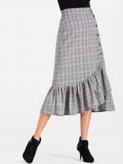 High Waisted Plaid Flounce Midi Skirt GRAY S