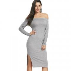 Off The Shoulder High Slit Midi Bodycon Dress LIGHT GRAY XL