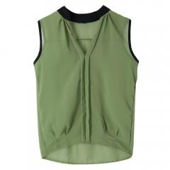Trendy Stand-Up Collar Sleeveless Spliced Chiffon  ARMY GREEN 2XL