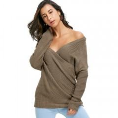 Off Shoulder Surplice Sweater KHAKI ONE SIZE