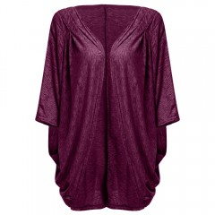Casual Collarless Batwing Sleeve Pure Color Loose  PURPLISH RED M