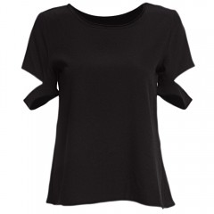 Simple Round Collar Short Sleeve Pure Color Chiffo BLACK XL