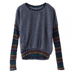 Trendy Style Jewel Neck Spliced Knitted Long Sleev DEEP BLUE M