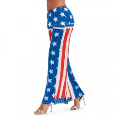 High Waisted American Flag Wide Leg Pants ROYAL BLUE XL
