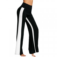 High Waisted Color Block Wide Leg Pants BLACK L
