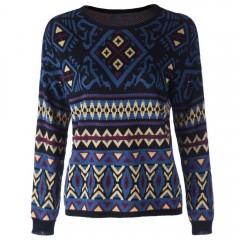 Trendy Style Round Collar Geometric Pattern Long S PURPLISH BLUE L