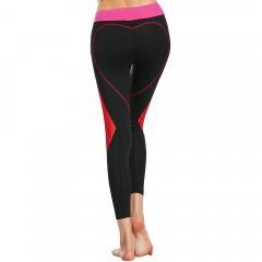 Heart Shaped Contrast Workout Leggings BLACK M