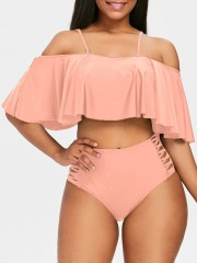 Strappy Ruffle Cold Shoulder Bikini Set PIG PINK 2XL