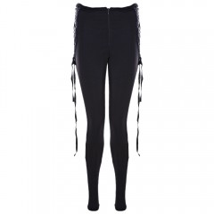 Fashion Solid Eyelets Criss Cross Legging for Wome BLACK L