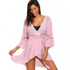 Plunge Flounce Cover-up Dress with Pompom PINK ONE SIZE