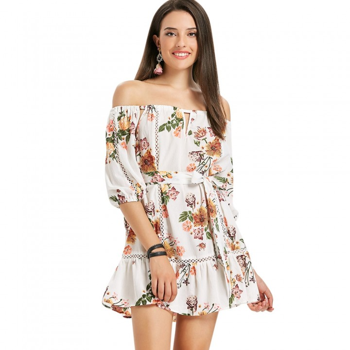 066f97918c8 Off Shoulder Floral Flounce Dress WHITE S   Kilimall Kenya