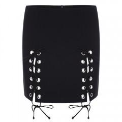 Stylish Mid Waist Lace-up Zipper Mini Skirt for Wo BLACK L