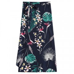 Leaves Print Wrap Skirt MIDNIGHT BLUE ONE SIZE