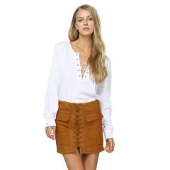 Fashionable Criss-cross Pocket Design Bodycon Pure YELLOW OCHER M
