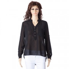 Simple Style V-Neck Chiffon Solid Color Long Sleev BLACK M