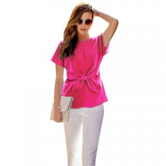OL Style Round Collar Bowknot Pure Color Chiffon B ROSE RED 2XL
