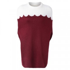 Stylish Round Neck Batwing Sleeve Color Block Wome RED S