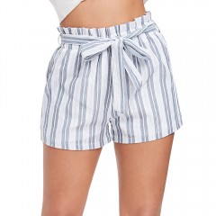 High Waist Stripe Spliced Lace Belted Women Mini S BLUE S
