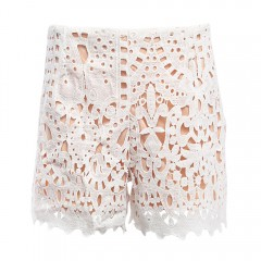 Stylish Hollow Out Crochet Lace Shorts for Women WHITE M