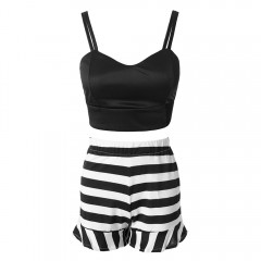 Stylish Spaghetti Strap Tank Top + High-Waisted St WHITE AND BLACK L