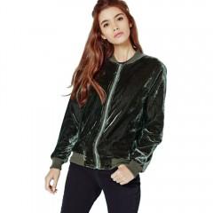 Fashion Round Collar Long Sleeve Zipper Type Pure  BLACKISH GREEN L