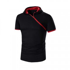 Casual Pure Color Inclined Zipper Design Men Hoode RED WITH BLACK 2XL