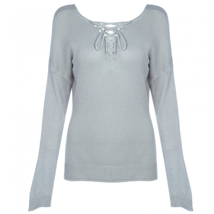 96798d20f109 Trendy Lace-up V-neck Long Sleeve Knitted Women Bl APRICOT XL ...