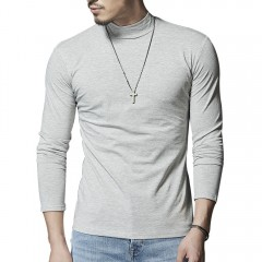 Mock Neck Stretch Long Sleeve Tee LIGHT GRAY 2XL