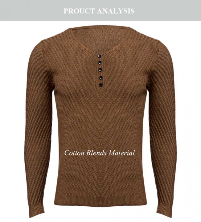 Simple Design Long Sleeve Round Neck Pullover Sweater for Men