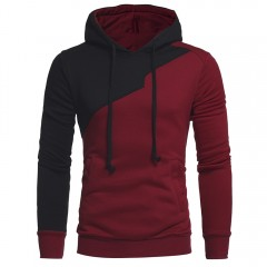 Drawstring Irregular Panel Fleece Spliced Hoodie WINE RED M