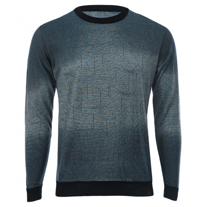 Casual Gradient Round Neck Long Sleeve Shirt for M BLUE M