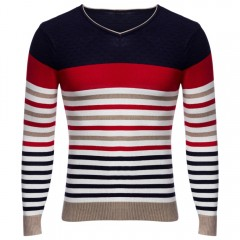 Casual Striped Design V Neck Long Sleeve Shirt for RED 2XL