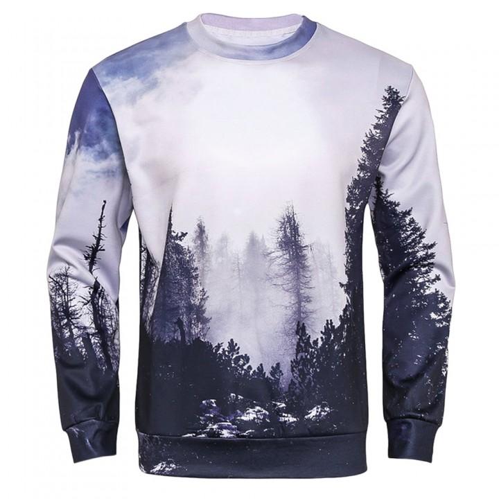Crew Neck 3D Forest Print Sweatshirt COLORMIX M