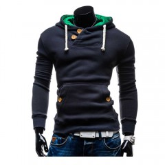 Casual Pocket Design Slim Fit Long Sleeve Men Hood BLUE 2XL