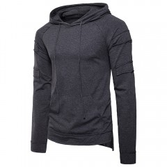 Patch Panel Design Drawstring Hoodie DEEP GRAY L