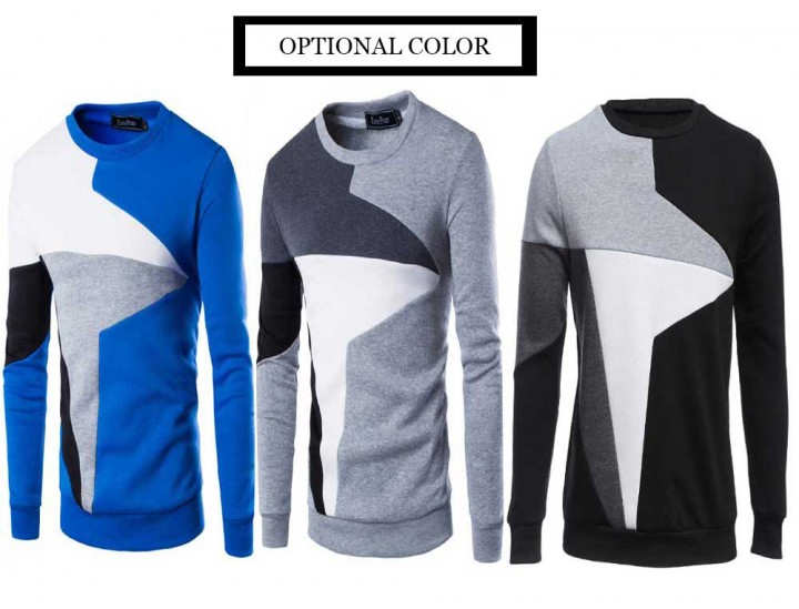 916318cc4 Casual Color Block Long Sleeve Pullover Sweater fo GRAY M   Kilimall ...