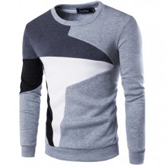 Casual Color Block Long Sleeve Pullover Sweater fo GRAY M
