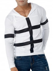 Cross Stripes Patch Long Sleeve Hoodie WHITE S