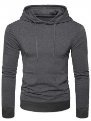 Casual Solid Color Pocket Long Sleeve Hoodie DARK GRAY XL