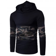 Hooded Mesh Camouflage Panel T-shirt BLACK 3XL