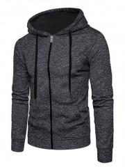 Full Zip Up Kangaroo Pocket Long Sleeve Fleece Hoo BLACK S