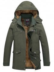 Detachable Hooded Pockets Fleece Zip Up Coat ARMY GREEN XL