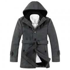 Men Butttons Fleece Wollen Hooded Coat GRAY 4XL