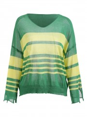 Full Sleeve Knit Striped Top GREEN M