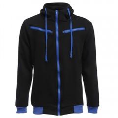 Casual Fleece Color Block Zipper Decoration Hoodie BLACK 3XL
