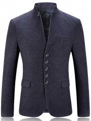 Stand Collar Single Breasted Slim Fit Blazer GRAY XL