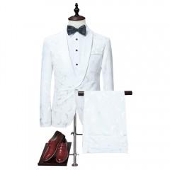 Shawl Collar Jacquard Blazer and Pants Twinset WHITE XL