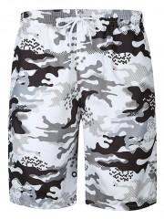 Flap Pocket Camouflage Print Hawaiian Bermuda Shor WHITE L