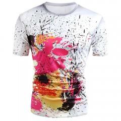 Short Sleeve Paint Splatter Print T-shirt MILK WHITE M